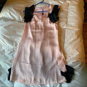 Peppe Peluso Pink Mini Dress Black Ruffle Sleeve M